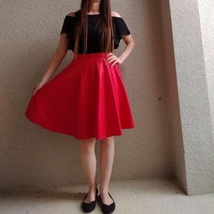 1849 Authentic Ranchwear Red Western Circle Skirt